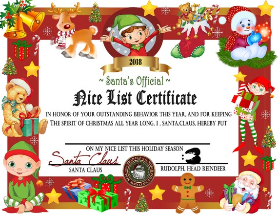 Printable Nice List Certificate Instant Download