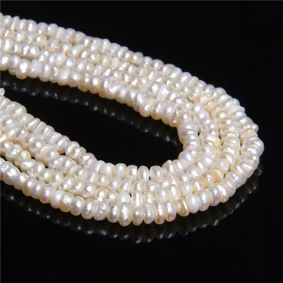"""Wholesale Natural Cultured Freshwater White Pearl Round Loos Beads 14/"""" Strand"""