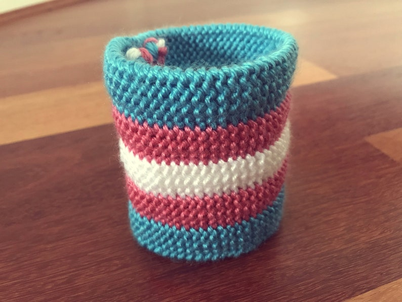 knitted wristband trans pride flag