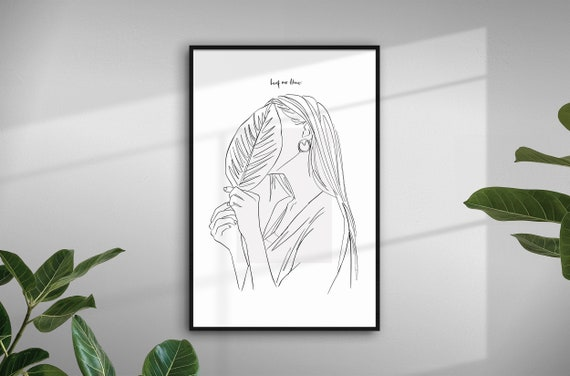 Leaf Me Alone Print, Plant Girl Print, Plant Line Art Drawing, Fashion Illustration Print, Fashion Art Print, Foliage Line Art UNFRAMED