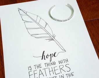 Hope is the Thing with Feathers Gift Set (Line Drawing & Bracelet)