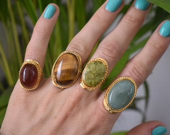 Boho Ring Goldstone Ring Gold Aventurine and Sterling Silver Ring Statement Ring Gypsy Ring Gold Aventurine Ring Adjustable Ring