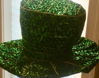 Green Black and Gold Hat