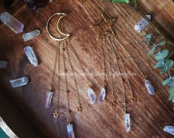 Moon Star Aura Quartz Hair Clip pin , crystal quartz wedding festival witchy mermaid crescent moon gothic boho hair pin clip