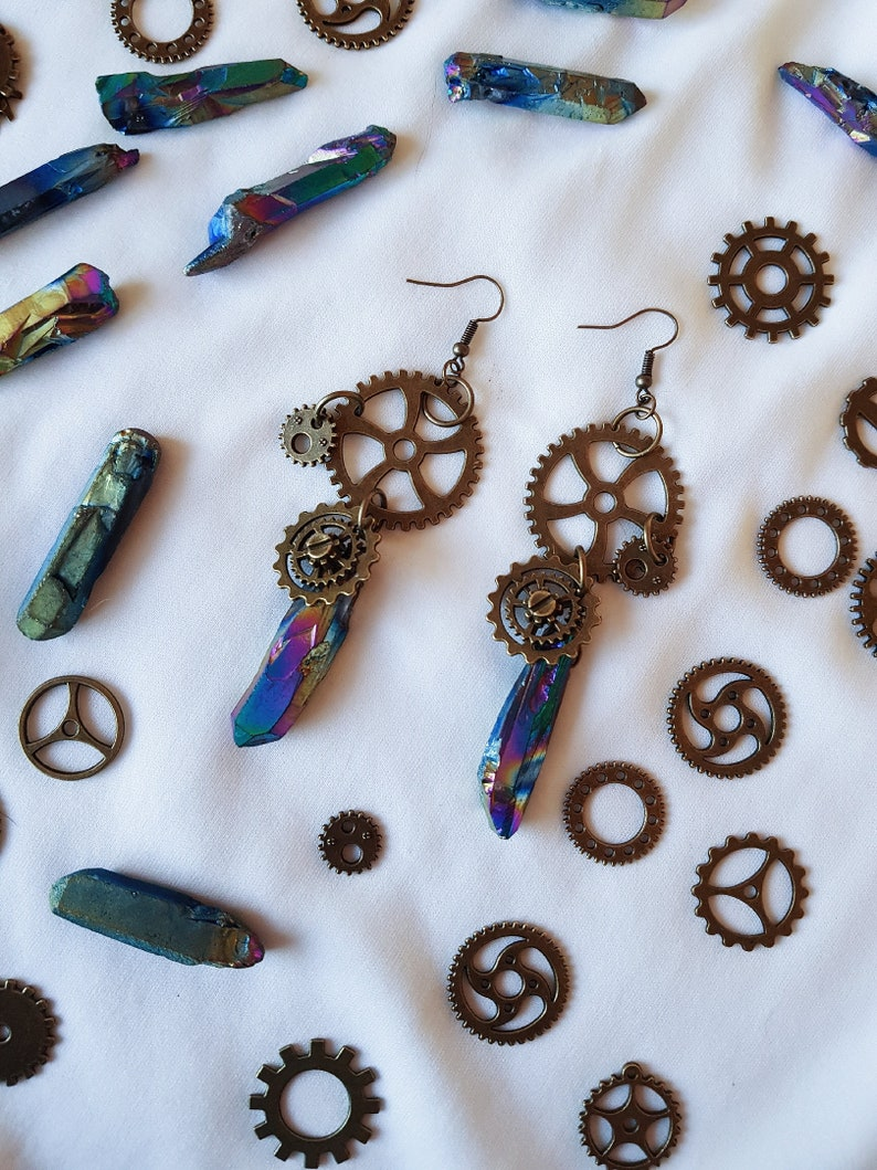 boho gypsy steampunk victorian fantasy festival bohemian crystal quartz earrings STEAMPUNK BRONZE witchy crystal rainbow quartz earrings