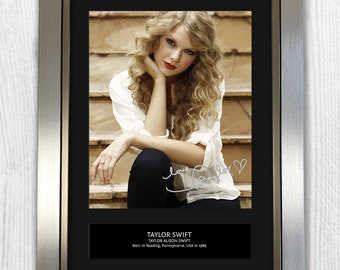 Taylor Swift Framed Signed Autograph Reproduction Photo A4 Print