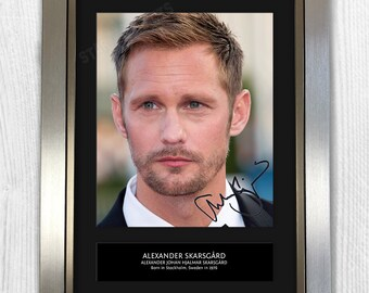 Alexander Skarsgard Framed Signed Autograph Reproduction Photo A4 Print