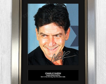 Charlie Sheen Framed Signed Autograph Reproduction Photo A4 Print