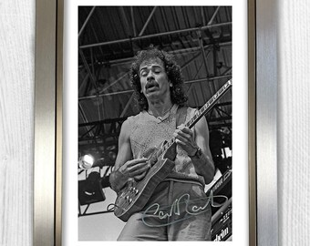 Carlos Santana Signed Autograph Reproduction Photo A4 Print Framed