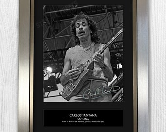 Carlos Santana Framed Signed Autograph Reproduction Photo A4 Print