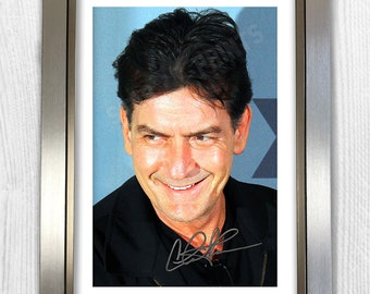 Charlie Sheen Signed Autograph Reproduction Photo A4 Print Framed