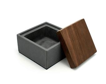 Coal Gray Custom Concrete Box | Personalised Reclaimed Teak Lid | Custom Engraving Beton Urn |  Jewelry storage