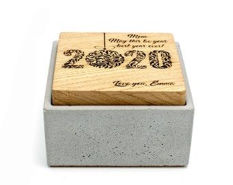 Custom Concrete Gift Box Engraved Lid | Minimalistic Small Decorative Personalised Beton Storage Present