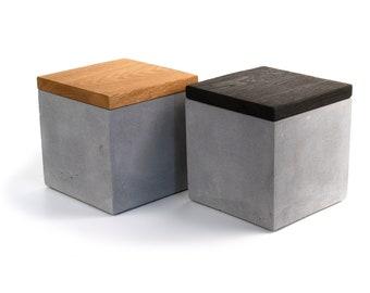 Cremation  Urn| Custom Engraved Concrete Urn | Cube Box | Personalised  Lid | Shou Sugi Ban