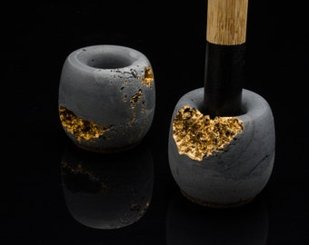 Custom Toothbrush holder | Make up Stand | Concrete with Gold