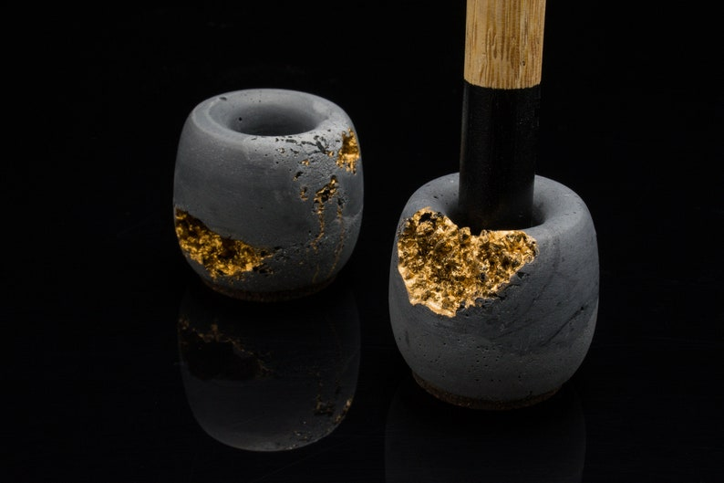 Custom Toothbrush holder  Make up Stand  Concrete with Gold image 0
