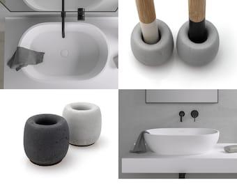 Round Concrete Toothbrush Stand | Black White Grey Beton Bestseller | Family Set | Gift for Couple