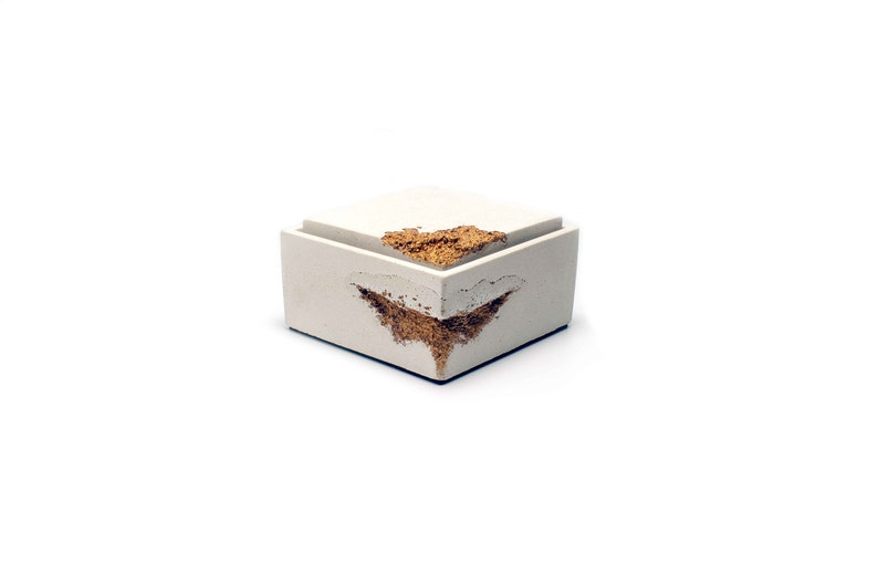 White Concrete Box with Gold Erossions  Personalised Lid  image 0