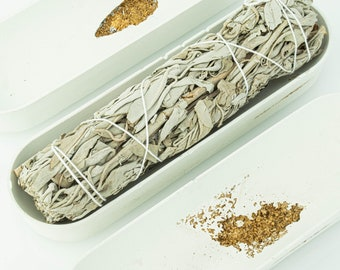 White Concrete Smudge Holder with Gold Erossion | California White Sage Wand | Beton Palo Santo Burner | Crystal Holder