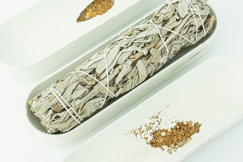 White Concrete Smudge Holder with Gold Erossion  California image 0