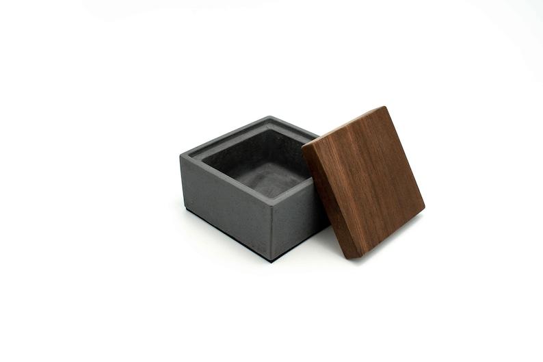 Coal Gray Custom Concrete Box  Personalised Reclaimed Teak image 0