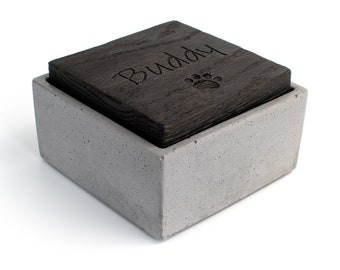 Custom Concrete Box | Shou Sugi Ban lid |  Jewelry storage |  Pet Ashes Urn Memorial  | Gray or Black