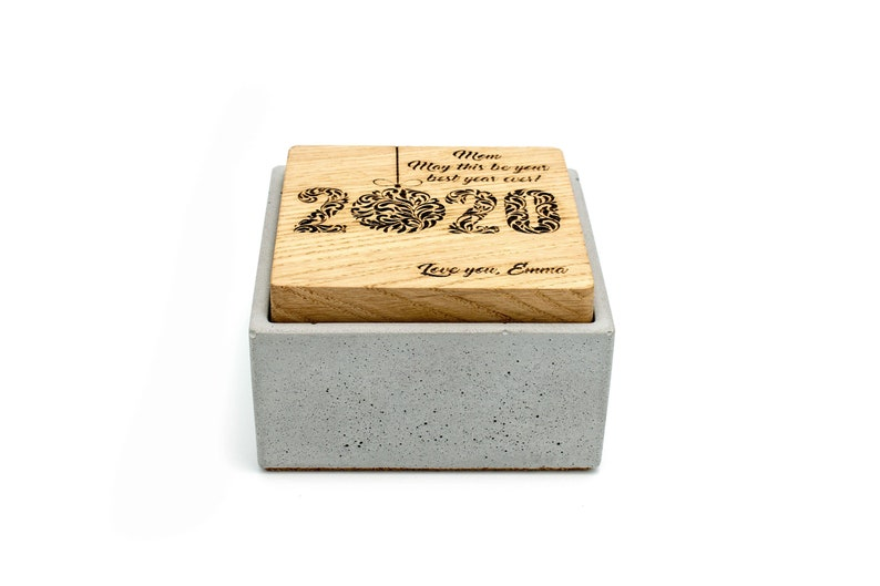Custom Concrete Gift Box Engraved Lid  Minimalistic Small image 0