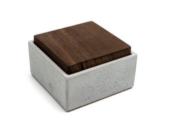 Custom Concrete Gift Box | Laser engraved Teak Lid  | Personalised Gift Beton Storage Catchall | Jewelry storage