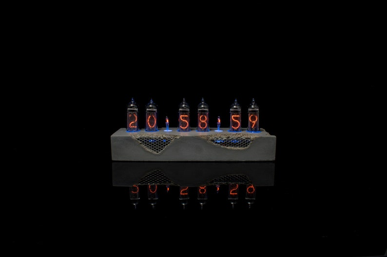 Concrete Nixie Tube Clock with indicator lamps IN-14  Beton image 0