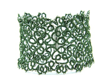 Tatting Bracelet Unusual Bracelet Tatting Jewelry Designer Bangle Tatted Lace Bracelet Green Lace Bracelet Tatted Bracelet Custom Bracelet