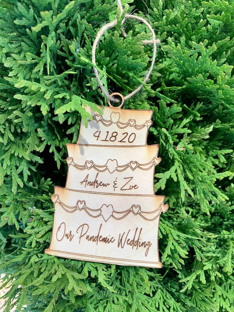 Quarantine WeddingPandemic Wedding2020 Wedding OrnamentWood Wedding OrnamentQuarantine Ornament Personalized Ornament