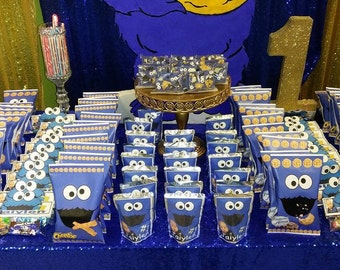 Blue Cookie Monster face chip bag,sesame street theme inspired, The Custom favor to add the WOW factor to your party!