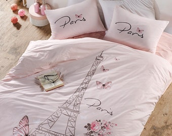 100 cotton paris bedding set eiffel tower themed singletwin and fullqueen size duvet cover set salmon pink girls bed set - Paris Bedding