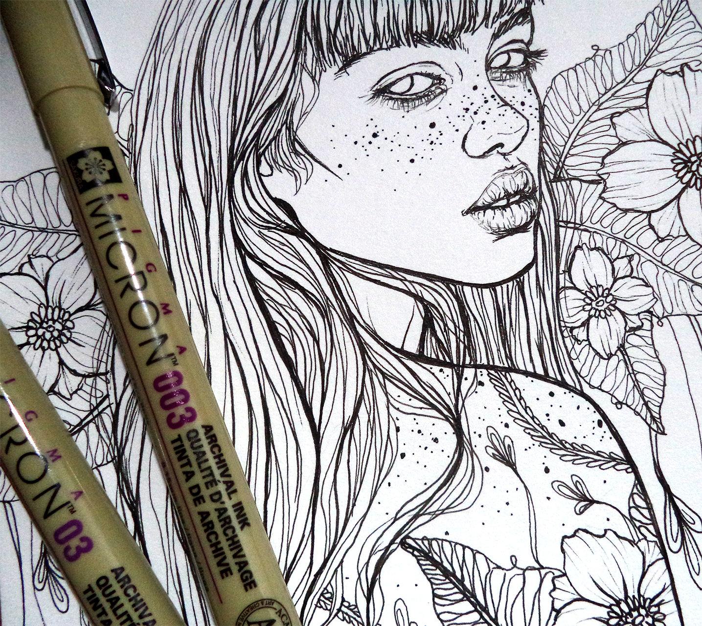Dibujo Para Colorear IMPRIMIBLE Chica Tatuada y Flores | Etsy