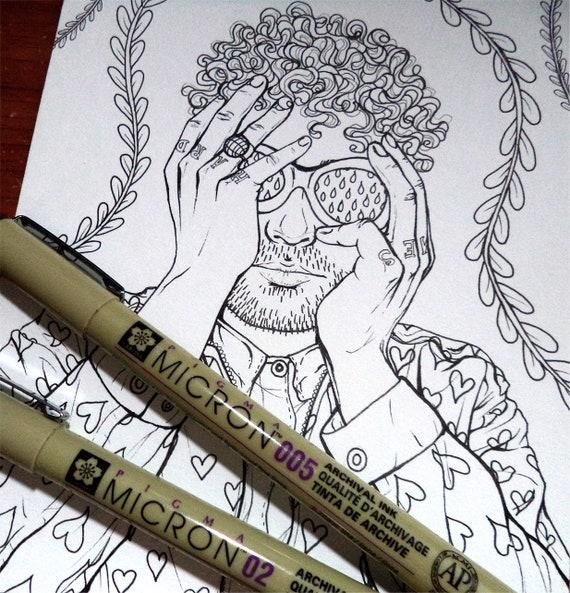 Dibujo Para Colorear IMPRIMIBLE Chico de Cabello Rizado   Etsy