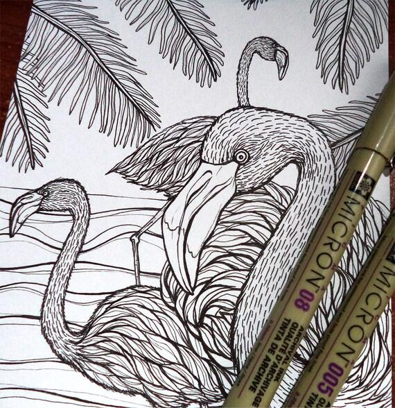 Dibujo Para Colorear IMPRIMIBLE Flamencos y Playa