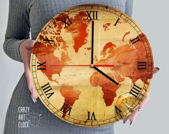 58ed63eadbc Wood 12 inches wall clock with vintage World map print