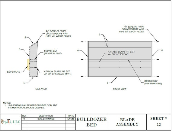 Bulldozer Bed PLANS pdf format Create a Construction Themed