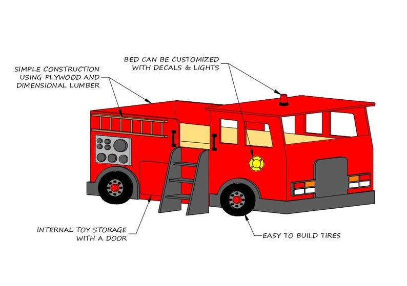 Fire Truck Bed PLANS (pdf format), Create a Fireman Themed Bedroom for your  Child, Perfect for the DIY Woodworking Enthusiast