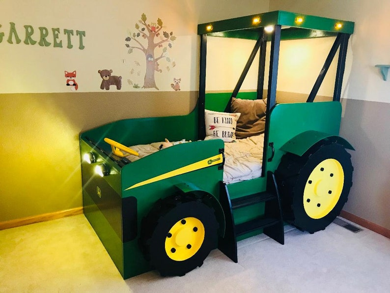 Tractor Bed PLANS Pdf Format Create A Farm Themed Bedroom For Your Child Perfect For The DIY Woodworking Enthusiast Best Tractor Themed Bedroom