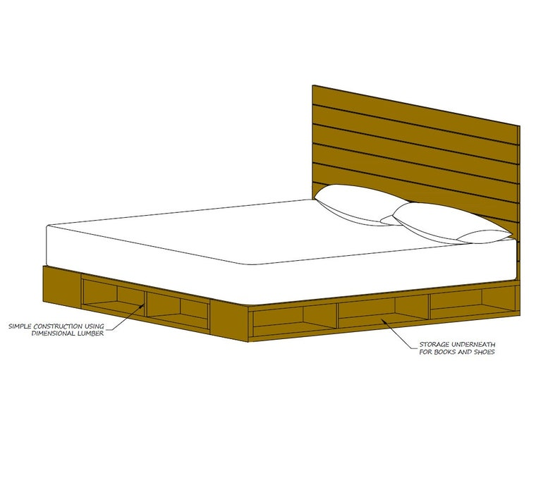 Queen Size Platform Bed W Headboard Plans Pdf Format Perfect For The Diy Woodworking Enthusiast
