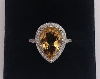 Genuine big citrine 5.51ct/14.7x9.7mm, 925 sterling silver ring, rhodinated (looks like white gold)