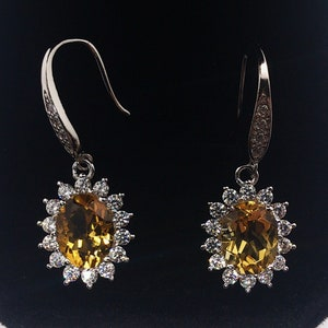 Genuine citrines /& garnets insured parcel delivery yellow gold over 925 sterling silver earrings