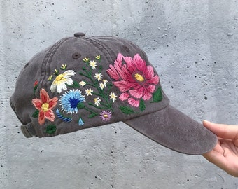 9613cf1ca6cf2 Hand Embroidered Hat   Custom Embroidered Cap  Floral hat   Colorful hat    Botanical hat   Embroidered Baseball Cap   Flower Baseball Cap