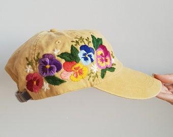 738317414d0 Custom Baseball Cap   Hand Embroidered Hat   Flower Baseball Cap   Floral  hat   Colorful hat   Botanical hat   Embroidered Baseball Cap