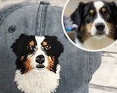Dog mom hat, Custom embroidery pet hat, pet memorial, Personalized baseball hat dog face portrait, Customized dog dad hat dog mom gift