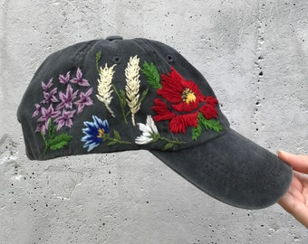 38ecf8b75ced9 Custom Hand Stitched Hat   Hand Embroidered Hat   Baseball Cap With  Flowers  Custom Floral hat   Botanical hat   Embroidered Baseball Cap