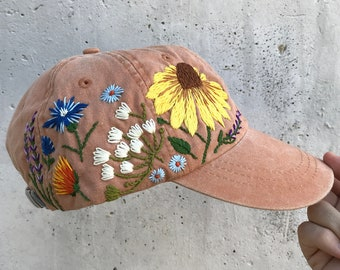 10a68b0be58c7 Custom Hand Stitched Hat   Hand Embroidered Hat   Floral hat   Colorful hat    Botanical hat   Embroidered Baseball Cap   Washed Denim Hat