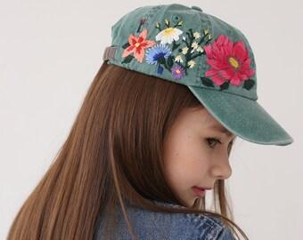 731bbfaf6a443c Hand embroidered hat, Kids baseball hat, Girls baseball cap, Youth hat with  embroidered flowers, Custom toddler hat, Gift for daughter