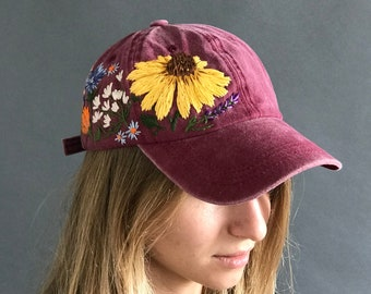 a2e4908d36f27 Custom Baseball Cap  Hat   Baseball Mom Hat   Vintage Baseball Cap    Embroidered Baseball Cap   Gift For Women   Botanical hat   Beach Hat